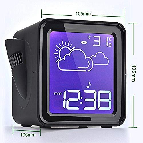 PKLFQQA Reloj Despertador Radio proyector LED con Pantalla retroiluminada Digital Reloj y Reloj estación meteorológica con Temperatura Exterior y Humedad Exquisita