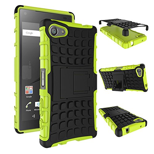 pinlu® Funda para Sony Xperia Z5 Compact (4.6 Pulgada) Smartphone Doble Capa Híbrida Armadura Silicona TPU + PC Armor Heavy Duty Case Duradero Protección Neumáticos Patrón Verde