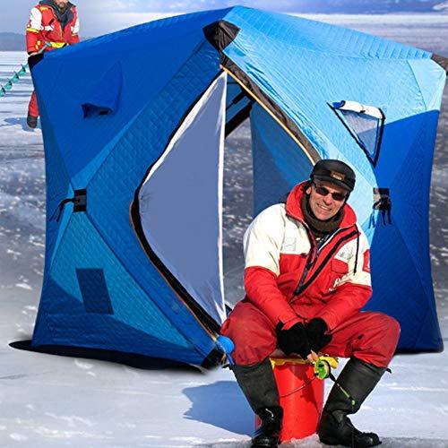 CLHCilihu 3-4 Person Ice Fishing Shelter Tent, Buiten Draagbare Toevoegen Katoen Dikke Winter Waterdichte Warm Tent met Entilatie Windows Carry Pack