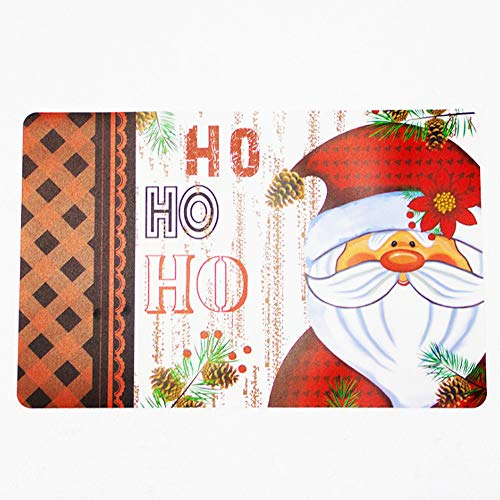 Juego de 12 manteles de Navidad antideslizantes con aislamiento térmico y lavable, suministros de Navidad, tela antideslizante con aislamiento térmico (6 posavasos + 6 manteles individuales)