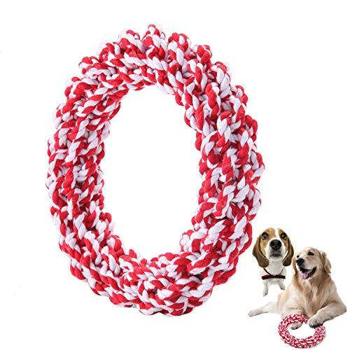 ASOCEA Hond Kauwtouw Speelgoed Katoen Huisdier Interactieve Knuffel Ring voor Medium Grote Honden Agressieve Chewers Training Bijten Tandjes (Rood)