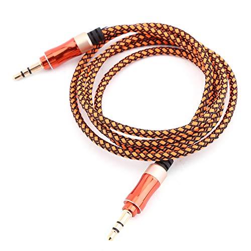 TXX Cable De Audio Auxiliar Premium Auxiliar De 3.5mm 3.3ft Cable Auxiliar para Auriculares iPods (Naranja)