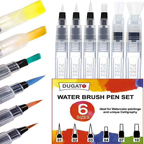 Water Brush Pens by DUGATO, Set of 6 Aqua Pen Painting Brushes with Broad & Detailed Tiny Tip Nylon, Refillable Water Brush Pens for Coloring, Art, Painting, Lettering