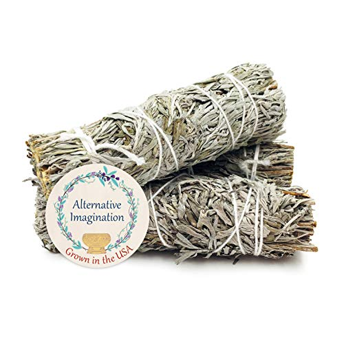 Alternative Imagination Blue Sage Incense Wands. Package of 3, 4 Inch Bundles. Grown in The USA.