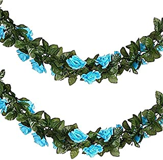 BalsaCircle 6 ft Turquoise 3D Chain Silk Rose Garlands - Artificial Flowers Wedding Arch Party Home Decorations Supplies