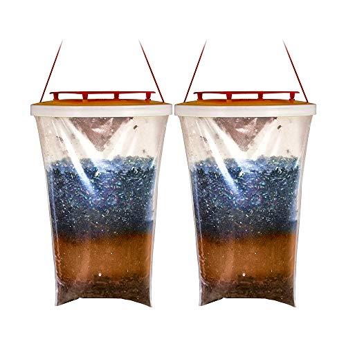 CINSEY Trampa para moscas colgante con cierre rojo, trampa para moscas desechable al aire libre atrae huevos, moscas e insectos, jaula para moscas y bolsas para moscas, sin polvo. (2)
