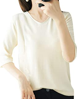 [ジョプリンアンドコー] 10カラー きれいめカットソー 五分袖 vネック シンプル 薄手 秋 冬 秋冬 レディース