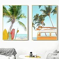 北欧の壁アートビーチサーフボードココナッツツリーカーキャンバス絵画ポスターとプリント壁の写真リビングルームの装飾(75x100cm)X2フレームレス
