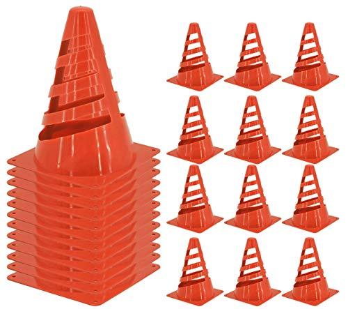 My-goodbuy24 Pylonen Markierungskegel - 12er Set - Kegel Hütchen - Orange - aus Kunstsoff bruchfeste Pylone - Trainingshilfen für Sport, Outdoor, Slalom, Fußball