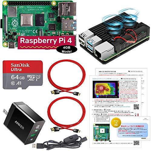 Linux ミニPC 【 Raspberry Pi 4 B (4GB) 】 (アーマーケース (FAN有) Anker製電源 OSプリインストール(Noobs) 4Kデュアル出力用ケーブル)