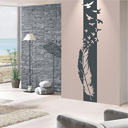 HomeTattoo ® WANDTATTOO Wandaufkleber Feder Banner Vögel Style Design Wohnzimmer 597 XL ( L x B ) ca. 180 x 46 cm (braun 800)