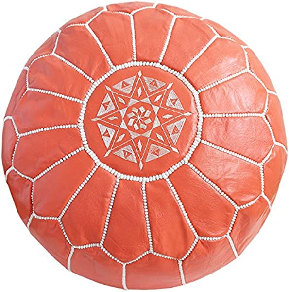 Baba Souk Moroccan Leather Pouf Coral