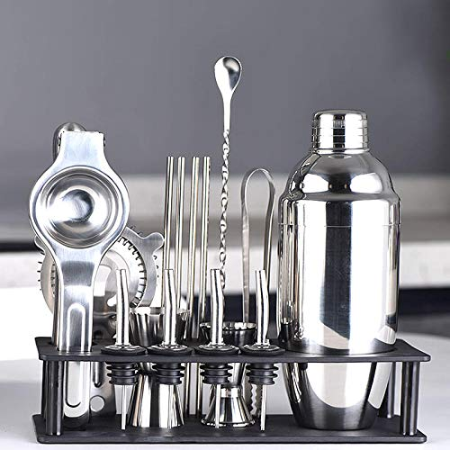 Yinaa roestvrijstalen cocktailshaker set 13-delig mixer bar set Rack Di Stoccaggio Nero 750ml