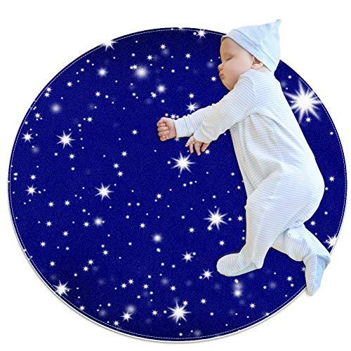 Lurnies Dunkelblauer Sternenhimmel Runde Baby-Krabbeldecke Spielmatte Teppich weiche rutschfeste Raumdekoration für Kleinkinder Kinder 70cm