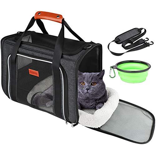 GUIFIER Haustier Reisetasche,Haustiertragetasche,Transporttasche für Haustiere,Katzen und Welpen,Transporttasche Transportbox für Hunde und Katzen,Pet Cage mit Pet Bowl Sicherheitsreißverschlüssen