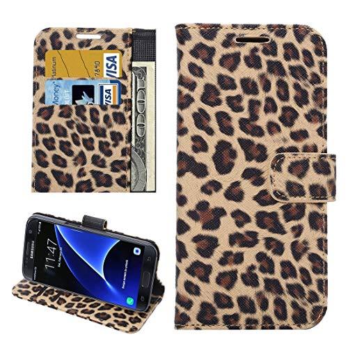 ZAORUN Cubiertas Protectoras de Cellphone Compatible for Samsung Galaxy S7 Edge / G935Funda de Cuero de Textura de Estampado Leopardo de FlipHorizontal con Soporte y Ranura de Tarjetas y Billetera