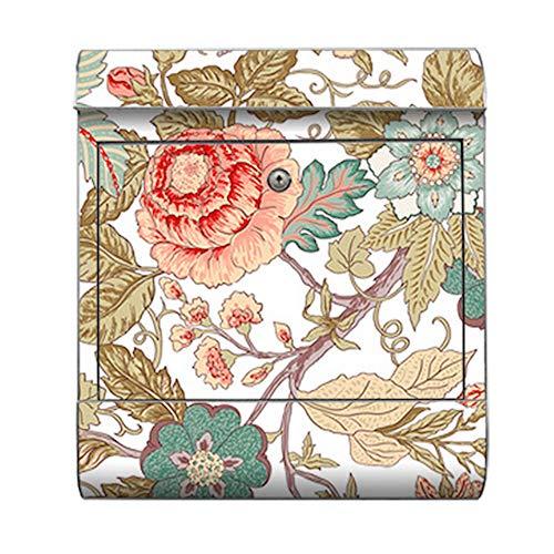 motivX-Ideenwerkstatt Briefkasten Kombi Wandbriefkasten mit Motiv Blumenranken Jugendstil