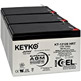 Battery 12V 12Ah - Fresh & Real 14.0 Amp - Gel Deep Cycle AGM/SLA Designed for Generic Use - Genuine KEYKO KT-12120 HRT - F2 Terminal - 3 Pack