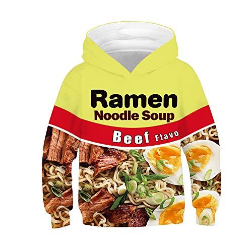 Unisex 3d Beef Ramen Noodle Soep Print Hoodie voor kinderen Grappige Gedrukte Pullover Hooded Sweatshirt Zakken