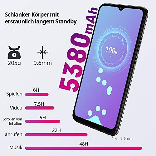 Blackview A70 (E) Smartphone ohne Vertrag Android 11, 6.517 Zoll HD mit 5V/2A, 3GB RAM+32GB Speicher Octa-core, 13MP+5MP Kamera, Fingerabdruck Sensor, 4G Handy Dual SIM Schwarz - 3