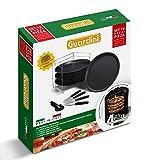 Guardini Scatola regalo 10 pezzi pizza: 1 Griglia porta tegami+4 Tegami pizza Ø32cm+4 Coltelli+1Rotella, Acciaio con rivestimento antiaderente, colore nero