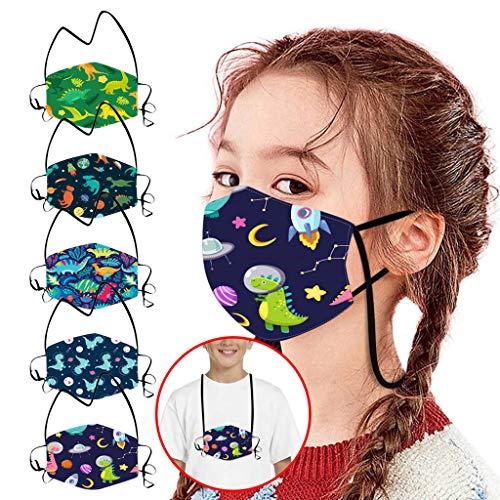 QUYYEI 5 Stück Kinder Mundschutz mit Motiv Lanyard Mund und Nasenschutz Waschbar Wiederverwendbar Schutz Face Stoff Covering Bandana für Jungen Mädchen Gesichtsbedeckung Staubschutz Mundbedeckung