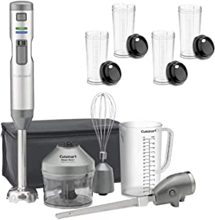 Cuisinart CSB-300 Rechargeable Hand Blender with Electric Knife (Stainless Steel) Bundle with Four Travel Cups (2 Items)