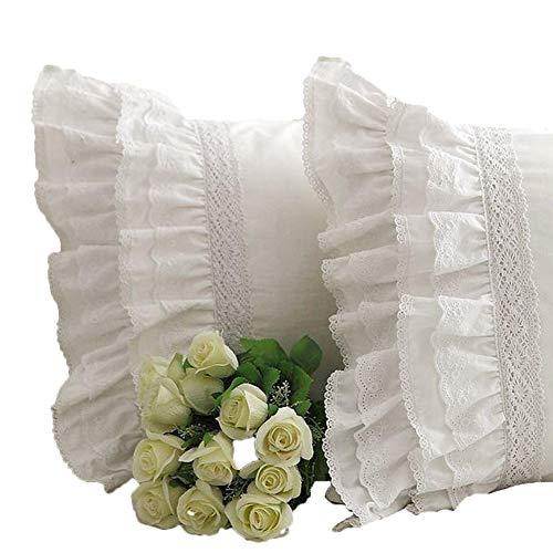 Sibaer, federa per cuscino in stile shabby vintage, con ricamo bianco in pizzo e volant, One Piece, Standard(50*74cm)