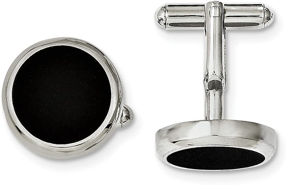 Black Bow Jewelry Men's 18mm Two Tone Stainless Steel Beveled Edge Round Cuff Links