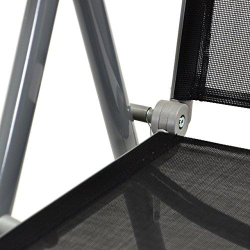 2er Set Klappstuhl Aluminium Komfortbreite Gartenstuhl Gartenstühle Klappstühle Alu schwarz - 3