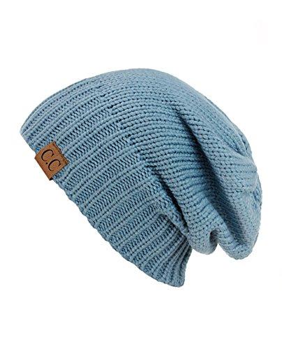 NYFASHION101 Bonnet chaud tricotté nervuré à revers ou slouch. Produit exclusif à