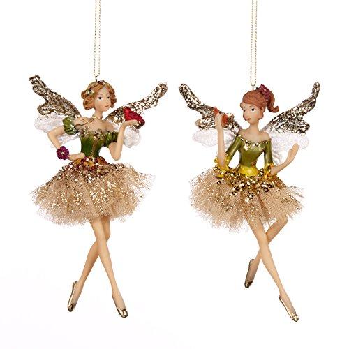 Goodwill: Lot de 2 décorations de Noël à suspendre en résine et tissu Motif fée Vert et crème