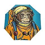 SUHETI Ombrello Portatile,Astronauta Monkey Space Suit Pop Art,Ombrello Pieghevole Automatico Antivento