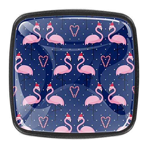Manija de cajón 30mm 4 piezas de cristal gabinete cajón manija para el hogar gabinetes de cocina rosa flamenco sombrero de Navidad caramelo azul