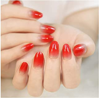 Drecode False Nails Bling Red Gradient Acrylic Full Cover Fake Nails Fashion Party Clip on Nails for Women and Girls