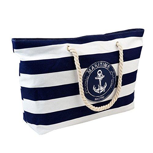 Strandtasche XXL blau,weiß im maritimen Look Badetasche Einkaufstasche Freizeittasche ideal für Ihren Urlaub (XXL Maritime)