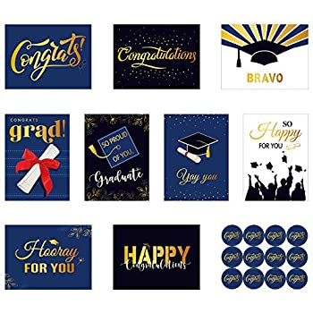 18 Pieces Graduation Greeting Cards Graduation Cards Assortment with 18 Pieces White Envelopes and 24 Pieces Congrats Round Stickers for Friends Classmates Students 9 Designs