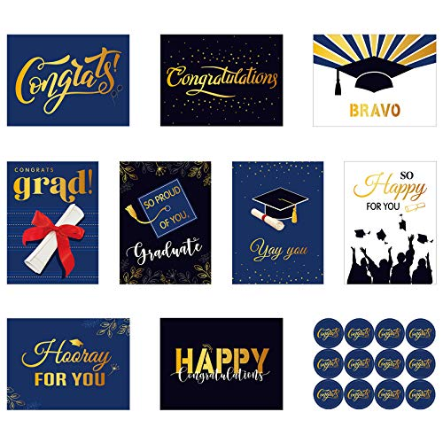 18 Pieces Graduation Greeting Cards Graduation Cards Assortment with 18 Pieces White Envelopes and 24 Pieces Congrats Round Stickers for Friends, Classmates, Students, 9 Designs