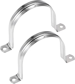 uxcell U Shaped Conduit Clamp Saddle Strap Tube Pipe Clip Stainless Steel M80 2Pcs