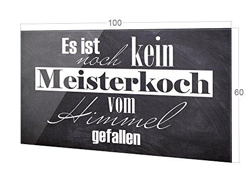 GRAZDesign Rückwand Küche Spruch, Küchen Spritzschutz Herd Es ist noch kein Meisterkoch, Küchenrückwand Glas Schiefer-Optik / 100x60cm