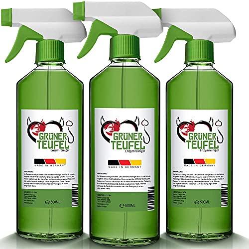 Grüner Teufel – Enzymreiniger (3 Flasche je 500 ml) | Teppichreiniger, Küchenreiniger - Polsterreiniger – Allzweckreiniger | Ideal für Sofa, Auto, Sitze, Polster