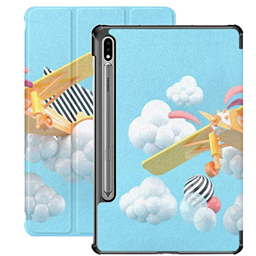 Smart Cover for Samsung Galaxy Tab S7 Plus 2020 Release 12.4 Inch SM-T970/T975/T976 with Pen Holder,Orange Airplane Clouds On Blue 3d