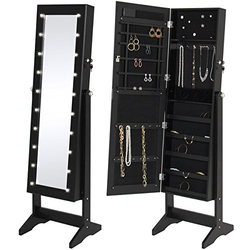 Best Choice Products LED Lighted Mirrored Jewelry Cabinet Armoire W/Stand- Black