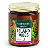NaturalAnnie Essentials Tropical Fruity Island Vibes: Citrus, Coconut & Cream Hand Poured Scented Soy Candle   9oz Clean and Long Lasting Burn   Made in The USA