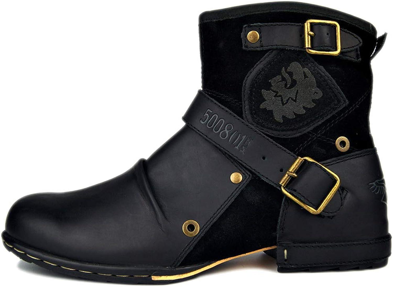 Safety stövlar herr Lättvattentäta utbildare skor Martin stövlar läder läder läder Autumn och Winter High Help Retro läder stövlar, svart -42  preferentiell