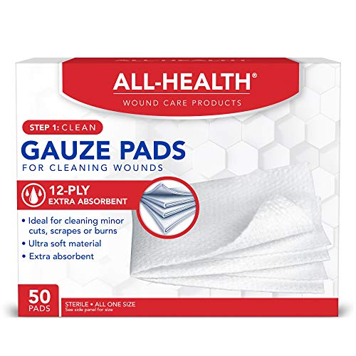 All Health Gauze Pads, 50 Pads, 3 X 3 | for Cleaning or Covering Wounds as Wound Dressing, Helps Prevent Infection