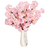 Tifuly Cherry Blossom Flowers Artificial 42.25 Inch Silk Cherry Blossom Branches for Home Garden Wedding Party Event Spring Decor(Red Cherry Blossom)
