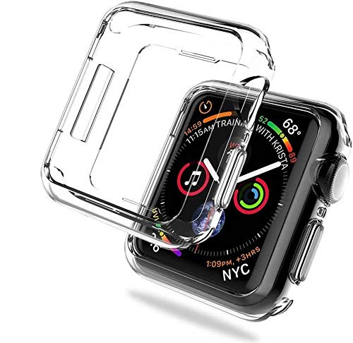 REY - Pack 3X Cover in Gel TPU Trasparente per Apple Watch Series 6 - Series 5 - Series 4 y SE de 44mm, Ultra Sottile 0,33 mm, Morbido Flessibile, Custodia Silicone