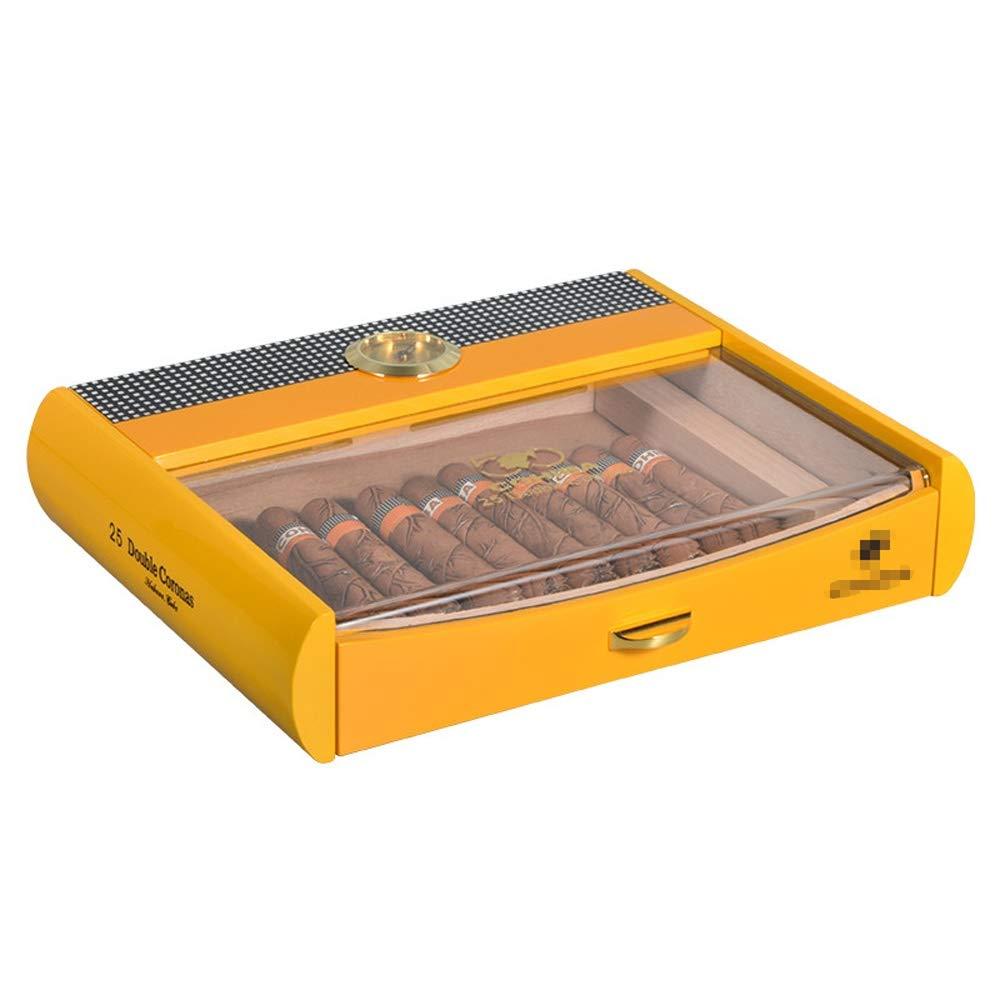 Caja de cigarros, transparente humidor de puros, cigarros caja forrada de madera de cedro Pequeño temperatura constante, Puro cuadro de visualización, con higrómetro y humidificador, puede sostener 25: Amazon.es: Hogar