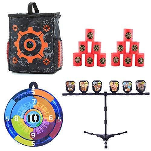 Seciie Zielscheibe Set für Nerf, Inhalt 1er Dartscheibe Zielscheibe + 1er Dart Tasche + 12er Dosenwerfen Set für Nerf Gun + 1er Ziele Schießen mit Stand